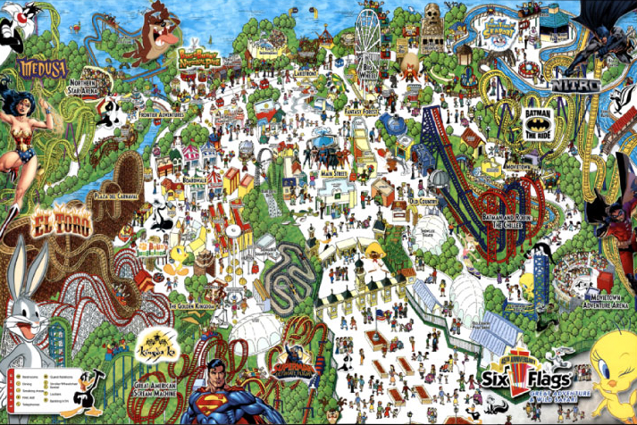 Tom Fee Illustration THE EVOLUTION OF AN IDEA - Map of all us theme parks