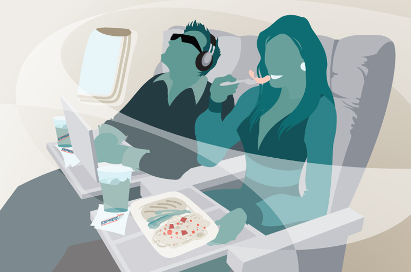 private jet passengers vector illustration